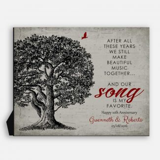 Our Song Is My Favorite Personalized Sheet Music Oak Tree Gift For 10 Year Anniversary #1330