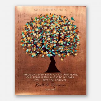Personalized 7 Year Anniversary Faux Copper Sheet Music Wedding Tree Poem Gift For Couple #1336