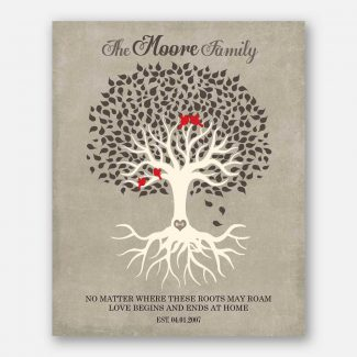 Personalized Family Tree Roots Birds Love