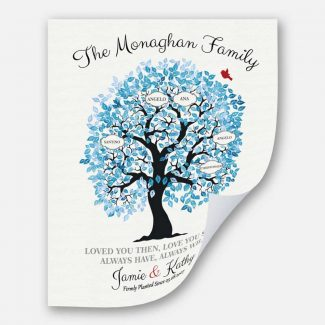 Family Tree Personalized Blue And White