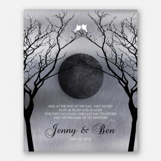 Personalized Love Poem Night Moon Bare Trees Faux Shiny Tin Background White Doves 1344