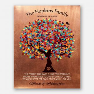 Perfect Marriage Family Tree Colorful Canopy Faux Copper 7 Year Anniversary Gift 1345