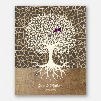 Minimalist Tree Roots Taupe Cream Brown Des Personalized Anniversary Gift For Couple 1348
