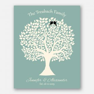 Personalized Couple Gift For Anniversary 1st or 2nd or 10th Green Cream Black Birds Family Tree 1360