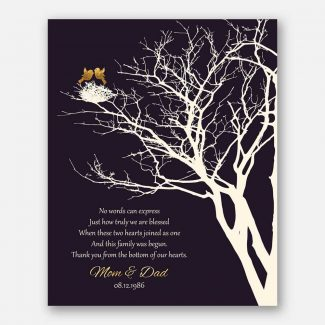 50th Golden Anniversary Personalized Family Wedding Tree Gift For Mom and Dad Gift For Couple #1363