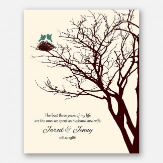 3rd Year Anniversary Personalized Family Wedding Tree Gift Jade Love Poem Gift For Couple #1366