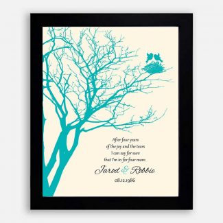 4th Anniversary Gift Personalized Family Wedding