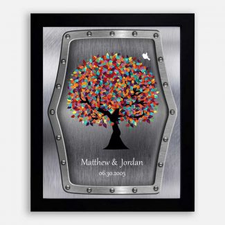 11th Wedding Anniversary Faux Steel Colorful