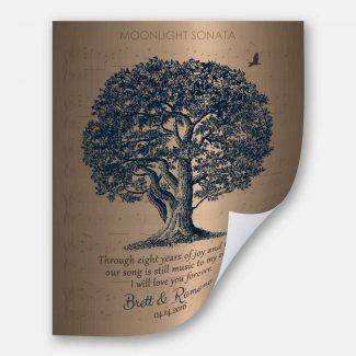 Faux Brass Anniversary Personalized Family Oak