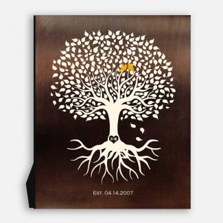 Personalized Anniversary Minimalist Tree on Faux Bronze Background Gift For Couple 8th Year #1391