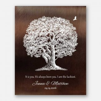 10 Year Anniversary Gift Aluminum Tin Faux Bronze Oak Tree Luckiest Personalized Gift For Him #1394