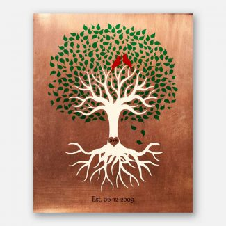 Minimalist Tree Roots Green Canopy Red