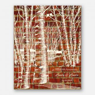 Birch Tree Forest on Faux Brick