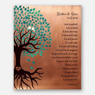 Turquoise on Faux Copper Background Tree