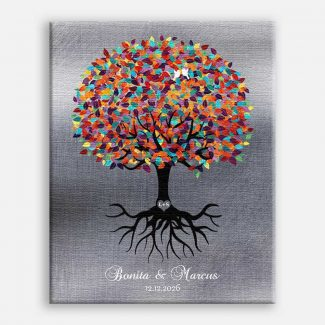 Colorful Tree Roots Minimalist Faux Shiny