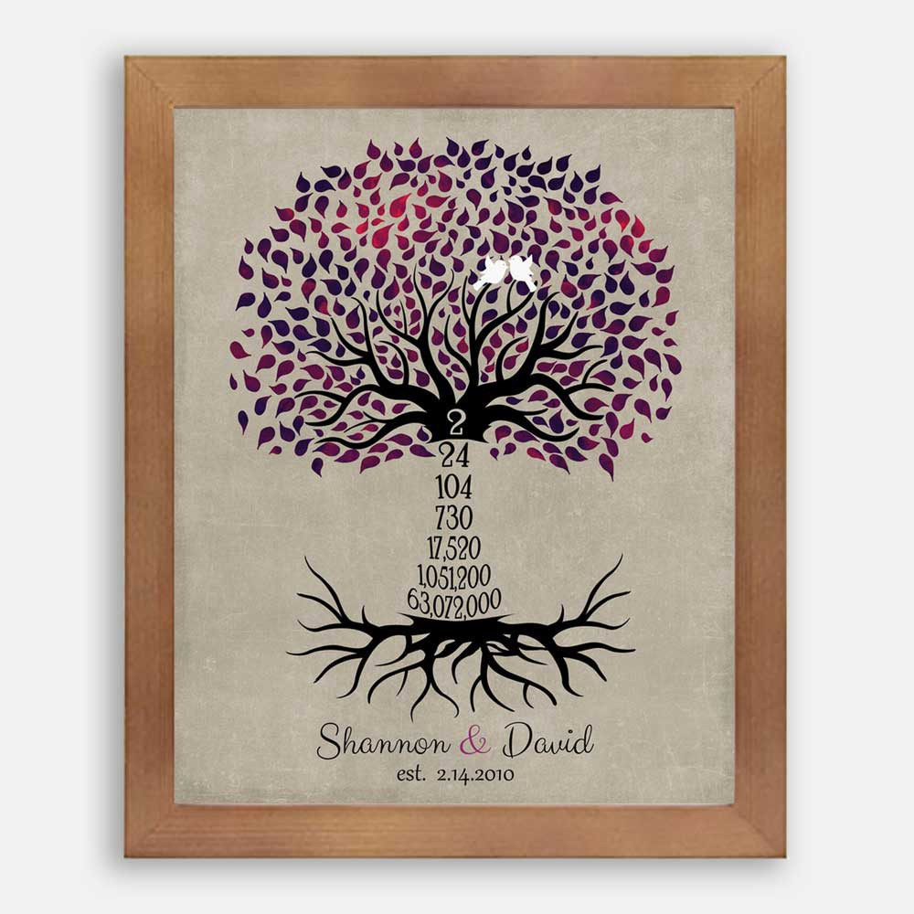 Gifts for wife unique 2 years together tree Personalized 2nd Cotton Anniversary Gift for him or her tree of life print
