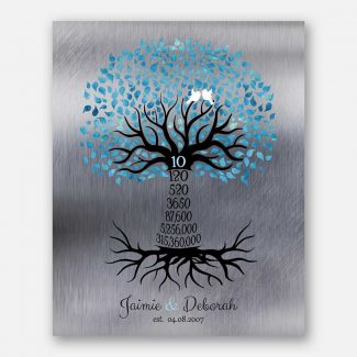10th Year Ten Anniversary Gift For Couple Personalized Family Countdown Tree Roots Silver Blue #1440