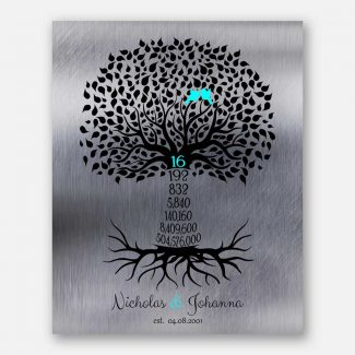16th Year Sixteenth Anniversary Date Gift Personalized Family Countdown Family Tree Roots #1446