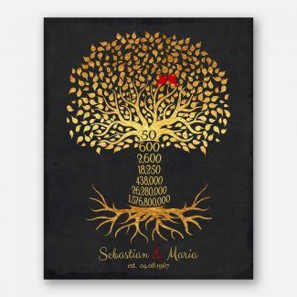 50th Year Anniversary Date Gift Personalized Family Countdown Gold Black Family Tree Roots #1453