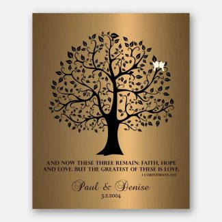 8 Year Anniversary Gift Faux Brass Background Tree Silhouette Corinthians 13:13 These Three Remain #1456