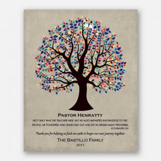 Personalized Gift For Pastor Wedding Thank You Easter Gift Multi-Color Tree of Life #1457