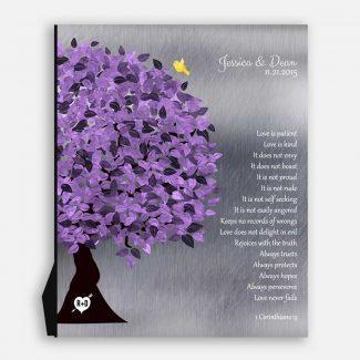 10 Year Anniversary Tree Background Purple