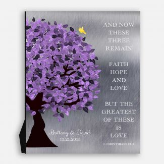 10 Year Anniversary Corinthians 13:13 Background Purple Silver Personalized Shiny Tin 25th Wedding Tree #1475