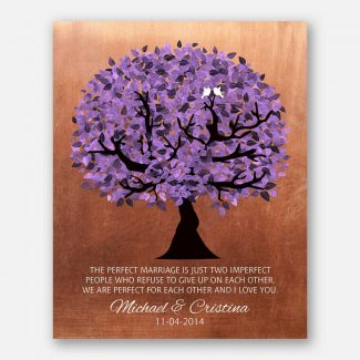 7 Year Anniversary Personalized Perfect Marriage Purple Tree Copper Gift For Her Gift For Him #1479