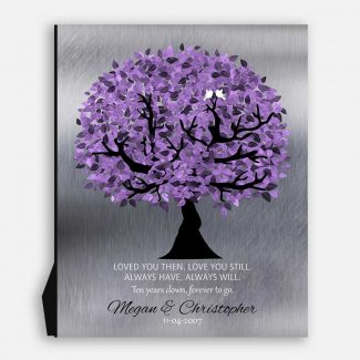 10 Year Anniversary Corinthians Loved You Then Purple Silver Personalized 25th Wedding Tree #1480