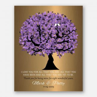 8 Year Anniversary Personalized Wedding Tree