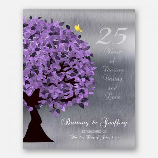 25 Year Anniversary Personalized Gift Silver Anniversary Purple Tree #1489