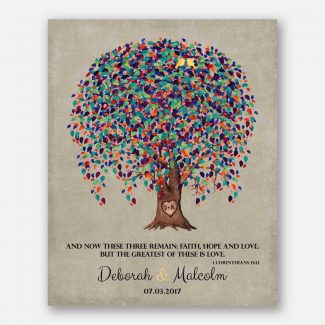 10 Year Tin Anniversary, Corinthians 13, 10th Anniversary, Weeping Willow Tree, Personalized – Metal, Paper or Canvas WWT #1507