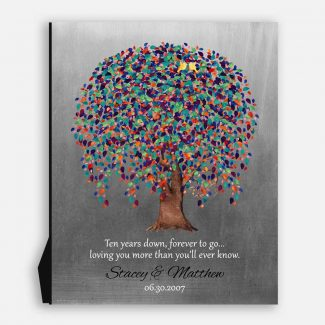 10 Year Anniversary Gift, Ten Years Down Forever to Go, Weeping Willow Tree, Personalized, on Metal or Canvas WWT #1512