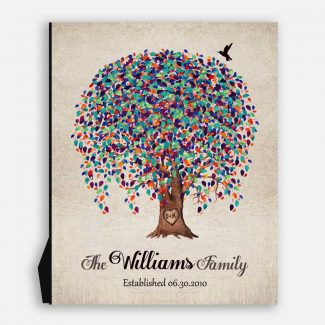 10 Year Anniversary Gift, Established Date, Minimalist, Weeping Willow Tree, Personalized, on Metal or Canvas WWT #1516