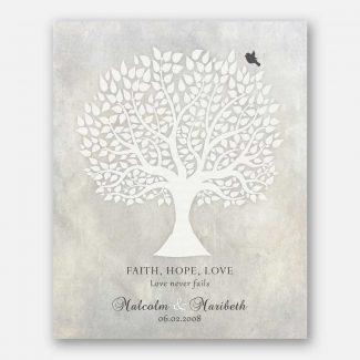 Anniversary Gift, White Tree, Faith Hope
