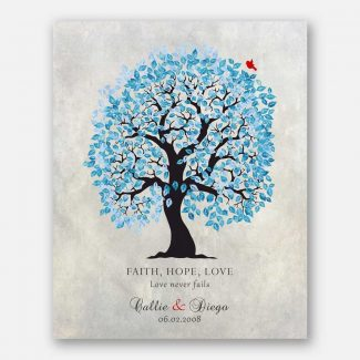 Anniversary Gift, Blue And Black Tree, Faith Hope Love, Gift For Couple #LT-1521