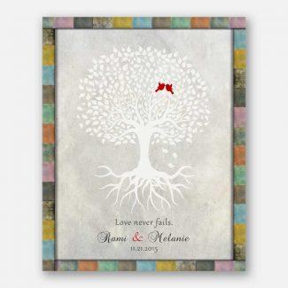 Anniversary Gift, White Tree, Red Love
