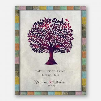 Anniversary Gift, Purple Tree, Faith Hope Love, Love Never Fails, Gift For Couple #LT-1525