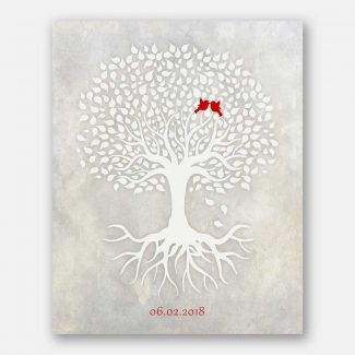 Anniversary Gift, White Minimalist Tree With Rotos, Red Love Birds, Gift For Couple #LT-1527