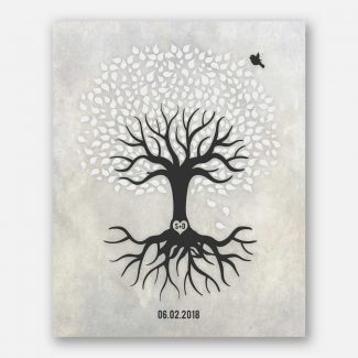 Anniversary Gift, Black And White Minimalist Tree With Rotos, Gift For Couple #LT-1529