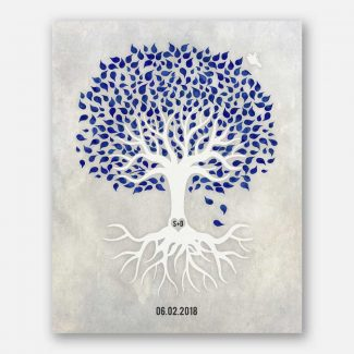 Anniversary Gift, Navy Blue And White Minimalist Tree With Rotos, White Dove, Gift For Couple #LT-1531