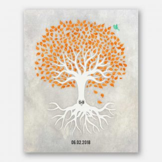 Anniversary Gift, Orange And White Minimalist Tree With Rotos, Blue Bird, Gift For Couple #LT-1534
