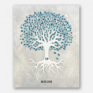 Anniversary Gift, Teal And White Minimalist Tree With Rotos, Blue Bird, Gift For Couple. #LT-1538