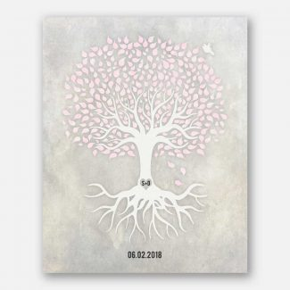 Anniversary Gift, Pink And White Minimalist Tree With Rotos, White Dove Bird, Gift For Couple. #LT-1540