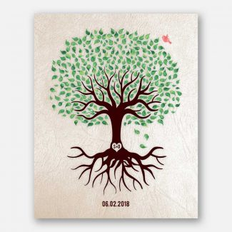 Anniversary Gift, Green And Brown Minimalist Tree With Rotos, Red Bird, Gift For Couple. #LT-1544