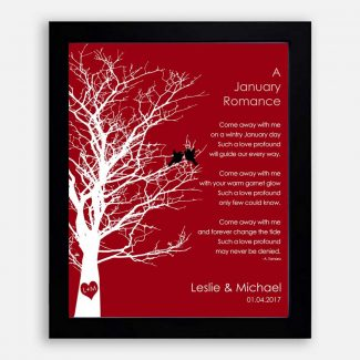 January Romance Love Poem Personalized Engagement