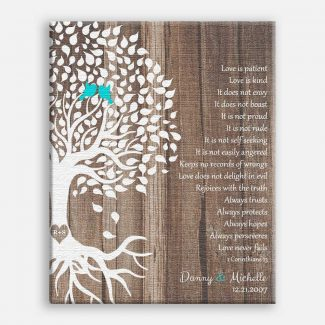 Personalized Corinthians Faux Wood White Tree