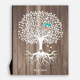 Personalized Anniversary Gift Faux Wood White Tree 5th Year Anniversary Gift 6th Year Tin #1726