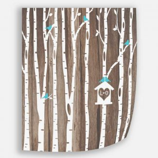 Personalized Initials White Birch Trees Faux