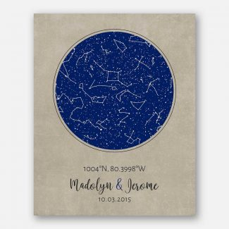 2 Year Anniversary, Cotton Gift, Custom Star Map, Constellation , Night Sky Print, Gift For Couple, Astrology Gift, Star Chart #1736